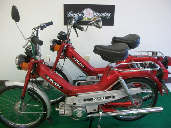 Reconditioned  Pair Of Red Puch Maxi Mopeds  Sold